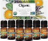 Cliganic USDA Organic Aromatherapy Essential Oils Set (Top 6), 100% Pure Natural - Peppermint, Lavender, Eucalyptus, Tea Tree, Lemongrass & Orange | Cliganic 90 Days Warranty