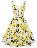 Yellow Print 1940s Homecoming Dress Retro Style XL BP416-3,Yellow Lemon